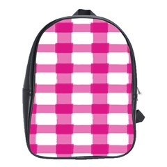 Hot Pink Brush Stroke Plaid Tech White School Bags(large)  by Mariart