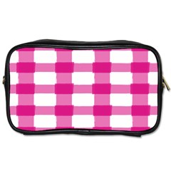 Hot Pink Brush Stroke Plaid Tech White Toiletries Bags 2 Side by Mariart