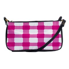 Hot Pink Brush Stroke Plaid Tech White Shoulder Clutch Bags by Mariart