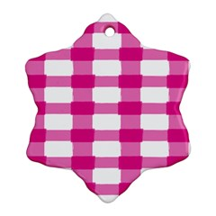 Hot Pink Brush Stroke Plaid Tech White Snowflake Ornament (two Sides) by Mariart