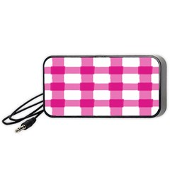 Hot Pink Brush Stroke Plaid Tech White Portable Speaker (black) by Mariart