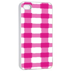 Hot Pink Brush Stroke Plaid Tech White Apple Iphone 4/4s Seamless Case (white) by Mariart