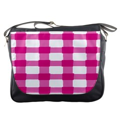 Hot Pink Brush Stroke Plaid Tech White Messenger Bags by Mariart