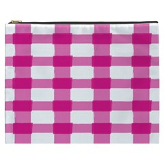 Hot Pink Brush Stroke Plaid Tech White Cosmetic Bag (xxxl)  by Mariart