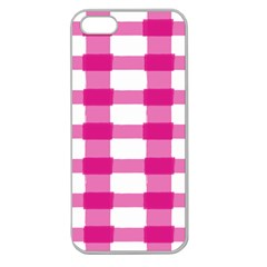 Hot Pink Brush Stroke Plaid Tech White Apple Seamless Iphone 5 Case (clear) by Mariart