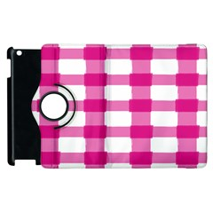 Hot Pink Brush Stroke Plaid Tech White Apple Ipad 2 Flip 360 Case by Mariart