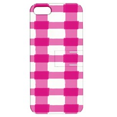 Hot Pink Brush Stroke Plaid Tech White Apple Iphone 5 Hardshell Case With Stand by Mariart