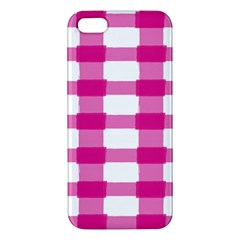 Hot Pink Brush Stroke Plaid Tech White Apple Iphone 5 Premium Hardshell Case by Mariart