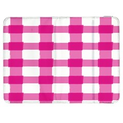Hot Pink Brush Stroke Plaid Tech White Samsung Galaxy Tab 7  P1000 Flip Case by Mariart