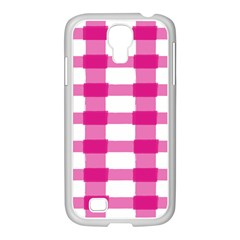 Hot Pink Brush Stroke Plaid Tech White Samsung Galaxy S4 I9500/ I9505 Case (white) by Mariart