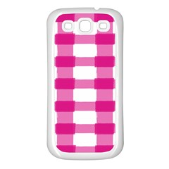 Hot Pink Brush Stroke Plaid Tech White Samsung Galaxy S3 Back Case (white) by Mariart