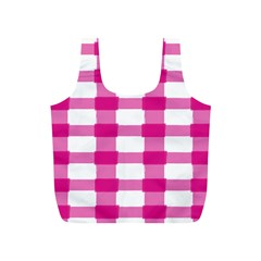 Hot Pink Brush Stroke Plaid Tech White Full Print Recycle Bags (s)  by Mariart