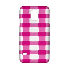 Hot Pink Brush Stroke Plaid Tech White Samsung Galaxy S5 Hardshell Case  by Mariart