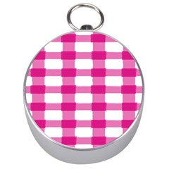 Hot Pink Brush Stroke Plaid Tech White Silver Compasses by Mariart