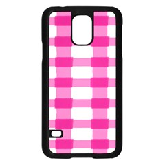Hot Pink Brush Stroke Plaid Tech White Samsung Galaxy S5 Case (black) by Mariart