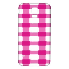 Hot Pink Brush Stroke Plaid Tech White Samsung Galaxy S5 Back Case (white) by Mariart