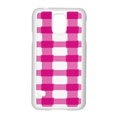 Hot Pink Brush Stroke Plaid Tech White Samsung Galaxy S5 Case (white) by Mariart