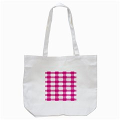 Hot Pink Brush Stroke Plaid Tech White Tote Bag (white) by Mariart