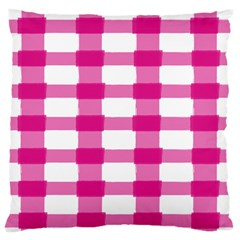 Hot Pink Brush Stroke Plaid Tech White Standard Flano Cushion Case (one Side) by Mariart