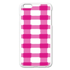 Hot Pink Brush Stroke Plaid Tech White Apple Iphone 6 Plus/6s Plus Enamel White Case by Mariart