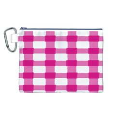Hot Pink Brush Stroke Plaid Tech White Canvas Cosmetic Bag (l) by Mariart