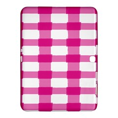 Hot Pink Brush Stroke Plaid Tech White Samsung Galaxy Tab 4 (10 1 ) Hardshell Case  by Mariart
