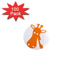 Giraffe Animals Face Orange 1  Mini Magnets (100 Pack)  by Mariart