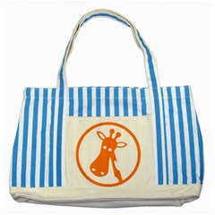 Giraffe Animals Face Orange Striped Blue Tote Bag by Mariart