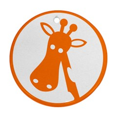Giraffe Animals Face Orange Round Ornament (two Sides) by Mariart