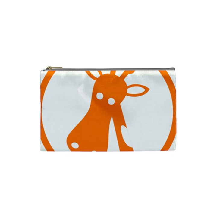 Giraffe Animals Face Orange Cosmetic Bag (Small)