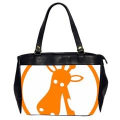 Giraffe Animals Face Orange Office Handbags (2 Sides)  by Mariart