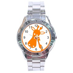Giraffe Animals Face Orange Stainless Steel Analogue Watch by Mariart