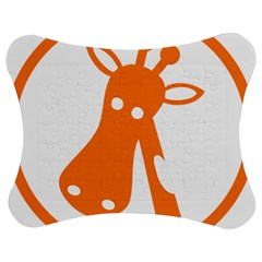 Giraffe Animals Face Orange Jigsaw Puzzle Photo Stand (bow) by Mariart