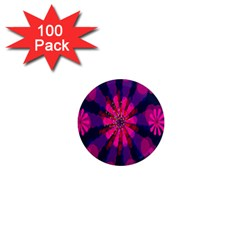 Flower Red Pink Purple Star Sunflower 1  Mini Magnets (100 Pack)  by Mariart