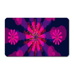 Flower Red Pink Purple Star Sunflower Magnet (rectangular) by Mariart