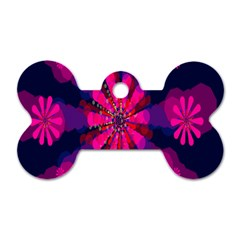 Flower Red Pink Purple Star Sunflower Dog Tag Bone (one Side) by Mariart