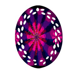 Flower Red Pink Purple Star Sunflower Oval Filigree Ornament (two Sides) by Mariart