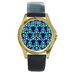 Christmas Tree Snow Green Blue Round Gold Metal Watch by Mariart