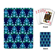 Christmas Tree Snow Green Blue Playing Card by Mariart