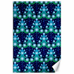 Christmas Tree Snow Green Blue Canvas 24  X 36  by Mariart
