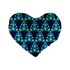 Christmas Tree Snow Green Blue Standard 16  Premium Flano Heart Shape Cushions by Mariart