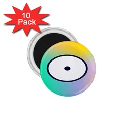 Illustrated Circle Round Polka Rainbow 1 75  Magnets (10 Pack)  by Mariart