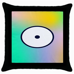 Illustrated Circle Round Polka Rainbow Throw Pillow Case (black) by Mariart