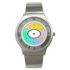 Illustrated Circle Round Polka Rainbow Stainless Steel Watch by Mariart