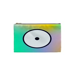 Illustrated Circle Round Polka Rainbow Cosmetic Bag (small)  by Mariart