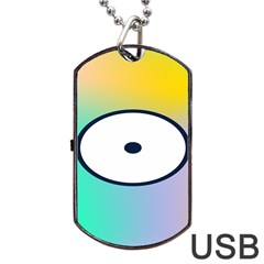 Illustrated Circle Round Polka Rainbow Dog Tag Usb Flash (two Sides) by Mariart