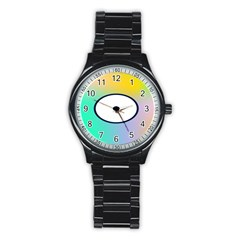 Illustrated Circle Round Polka Rainbow Stainless Steel Round Watch by Mariart