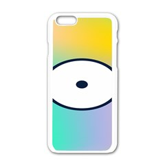 Illustrated Circle Round Polka Rainbow Apple Iphone 6/6s White Enamel Case by Mariart