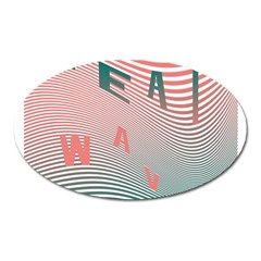 Heat Wave Chevron Waves Red Green Oval Magnet by Mariart