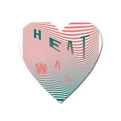 Heat Wave Chevron Waves Red Green Heart Magnet by Mariart